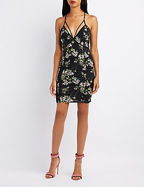 Floral Mesh Strappy Bodycon Dress