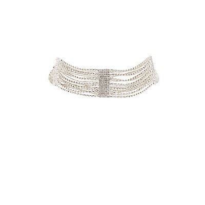 Plus Size Crystal Multistrand Choker Necklace