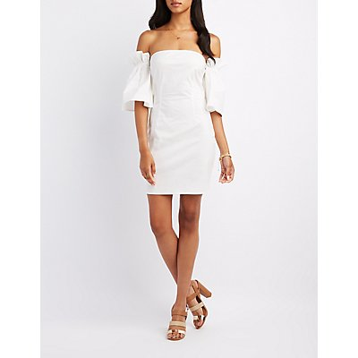 Poplin Off-The-Shoulder Sheath Dress