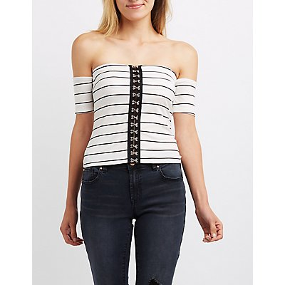 Striped Off-The-Shoulder Hook-And-Eye Top