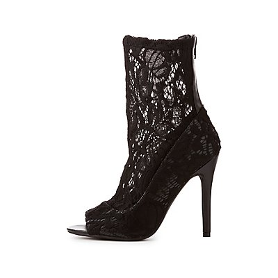 Qupid Lace Sock Ankle Booties