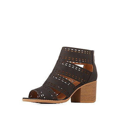 Qupid Laser Cut Caged Peep Toe Booties