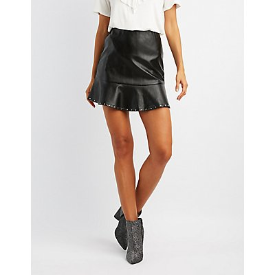 Faux Leather Studded A-Line Skirt