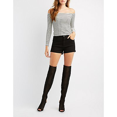 Mesh Peep Toe Over-The-Knee Boots