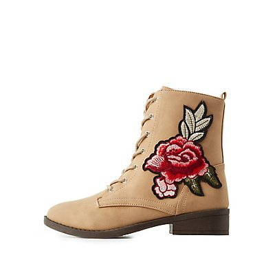 Rose Embroidered Combat Boots