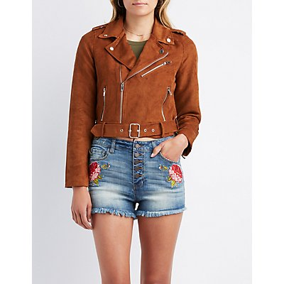 Faux Suede Belted Moto Jacket