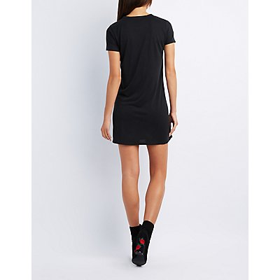 Choker Neck Graphic T-Shirt Dress