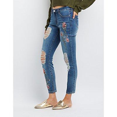 Refuge Floral Patch Destroyed Skinny Jeans