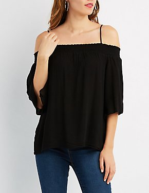 Gauze Cold Shoulder Top