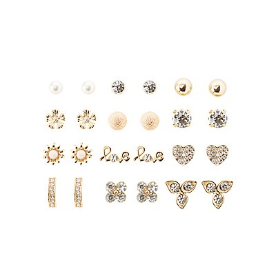 Embellished Love Stud Earrings - 12 Pack