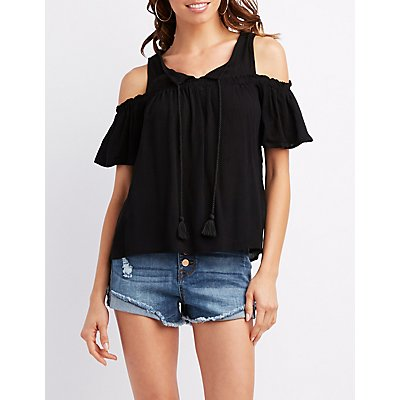 Tassel-Trim Cold Shoulder Top