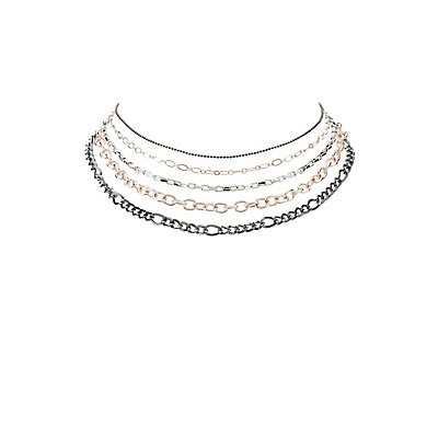 Chainlink Choker Necklaces - 5 Pack