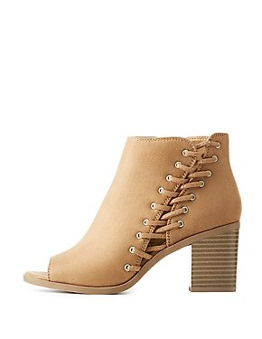 Lace-Up Detail Peep Toe Booties