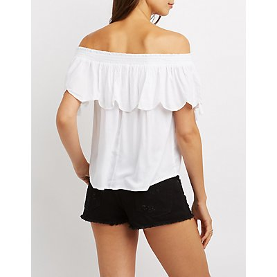 Embroidered Tassel-Trim Off-The-Shoulder Top