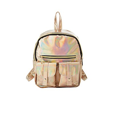 Holographic Faux Leather Backpack