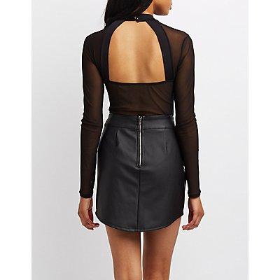 Mesh-Inset Open-Back Bodysuit