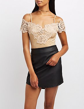 Crochet-Trim Faux Suede Cold Shoulder Crop Top