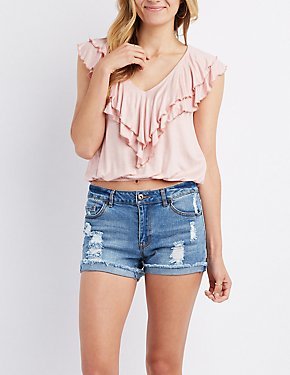 Tiered Ruffle-Trim Tank Top