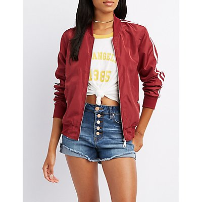 Varsity Stripe Lightweight Bomber Jacket