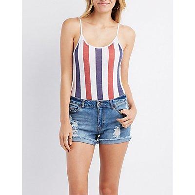 Striped Open-Back Bodysuit