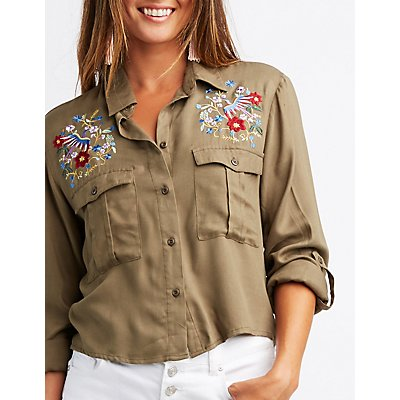 Embroidered Button-Up Shirt