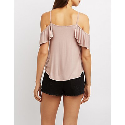 Lattice-Front Ruffle Cold Shoulder Top