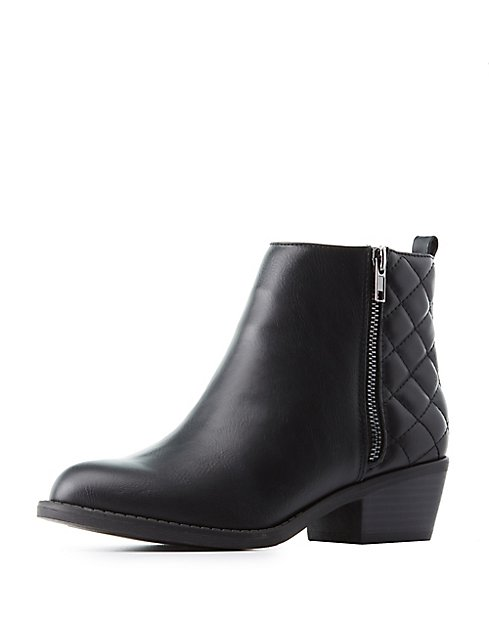 Quilted Back Ankle Booties | Charlotte Russe : quilted booties - Adamdwight.com