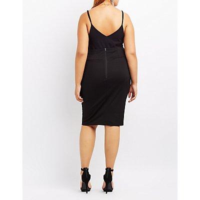 Plus Size Corset-Detail Bodycon Skirt