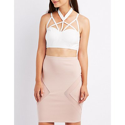 Caged Choker Neck Crop Top