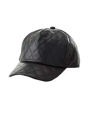 Quilted Faux Leather Baseball Hat