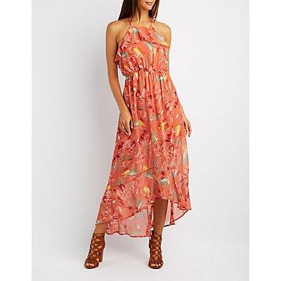 Floral Ruffle Bib Neck Maxi Dress