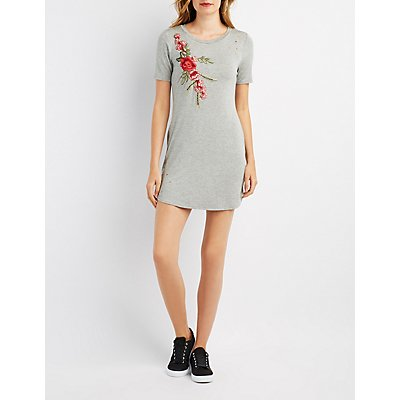 Distressed Embroidered T-Shirt Dress