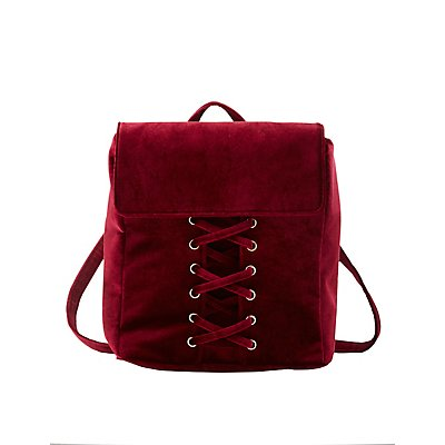 Velvet Lattice-Front Backpack