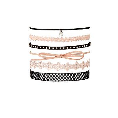 Crochet, Faux Suede & Mesh Choker Necklaces - 6 Pack