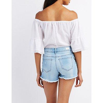 Embroidered Destroyed Denim Cut-Off Shorts