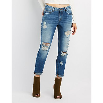 Refuge Destroyed Boyfriend Crop Jeans