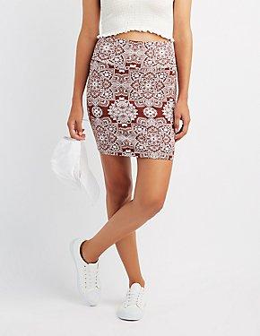 Medallion Print Bodycon Mini Skirt