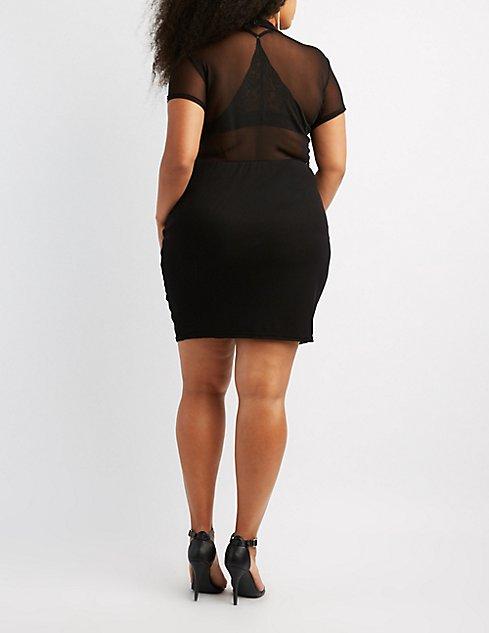 Plus Size Mesh Combo Bodycon Dress | Charlotte Russe