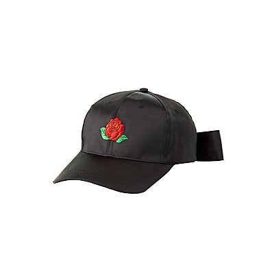 Embroidered Satin Bow Baseball Hat