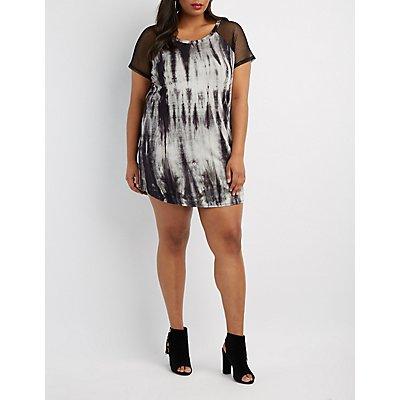 Plus Size Tie Dye & Mesh T-Shirt Dress