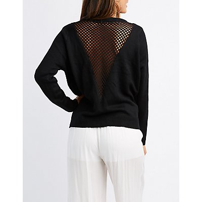 Fishnet-Inset Pullover Sweater