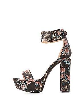 Brocade Two-Piece Platform Sandals