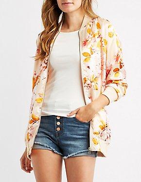 Floral Satin Longline Bomber Jacket