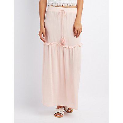 Drawstring Ruffle-Trim Maxi Skirt