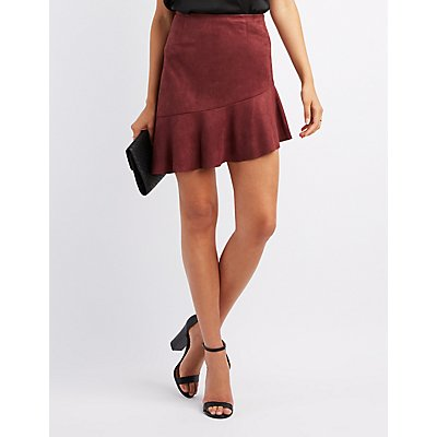 Ruffle-Trim Faux Suede Skirt