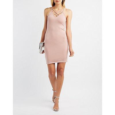 Lattice-Front Bodycon Dress