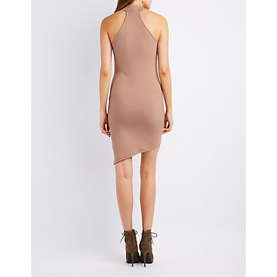 Ribbed Asymmetrical Bodycon Dress