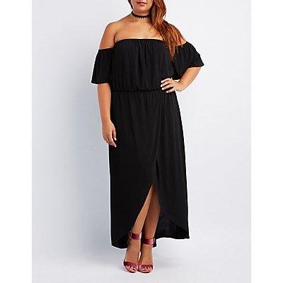Plus Size Off-The-Shoulder Wrap Maxi Dress