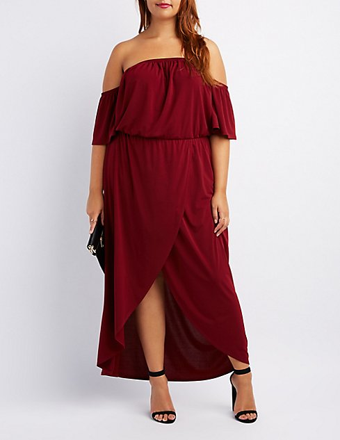 Plus Size Off The Shoulder Wrap Maxi Dress Charlotte Russe