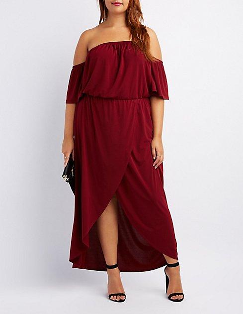 Plus Size Off-The-Shoulder Wrap Maxi Dress | Charlotte Russe